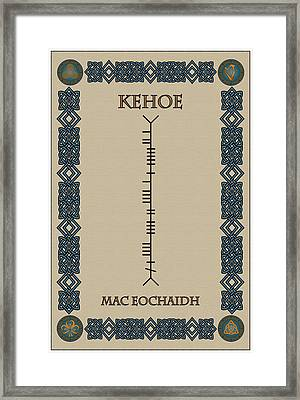 Framed Print featuring the digital art Kehoe Written In Ogham by Ireland Calling