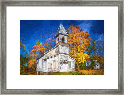 Lafayette Baptist Church Lafayette Sussex County Nj Painted  Framed Print by Rich Franco