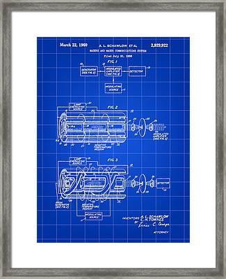 Laser Patent 1958 - Blue Framed Print