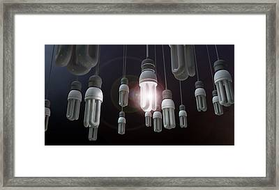 Leadership Hanging Lightbulb Framed Print by Allan Swart