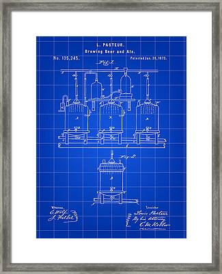 Louis Pasteur Beer Brewing Patent 1873 - Blue Framed Print by Stephen Younts