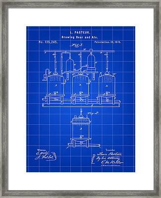 Louis Pasteur Beer Brewing Patent 1873 - Blue Framed Print