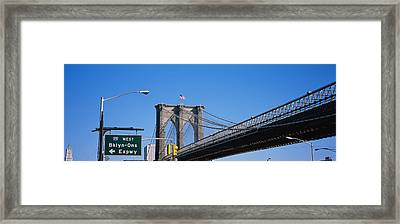 Low Angle View Of A Bridge, Brooklyn Framed Print