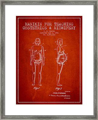 Manikin For Teaching Obstetrics And Midwifery Patent From 1951 - Framed Print