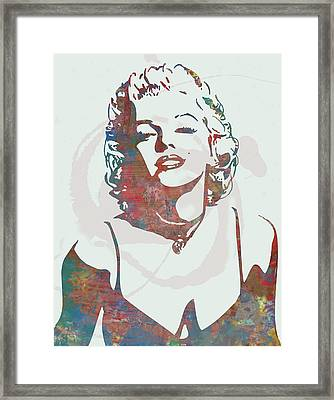 Marilyn Monroe Stylised Pop Art Drawing Sketch Poster Framed Print