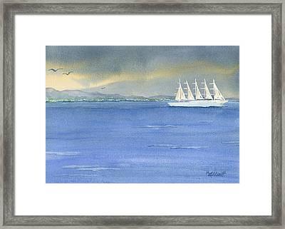 5 Masted Schooner Framed Print by Marsha Elliott
