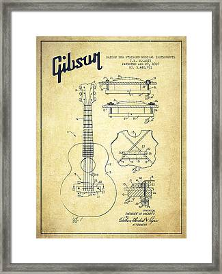 Mccarty Gibson Stringed Instrument Patent Drawing From 1969 - Vintage Framed Print