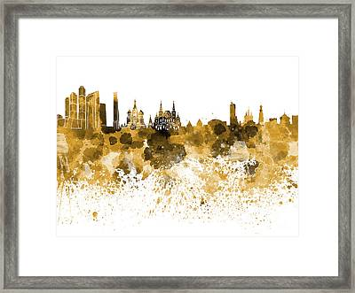 Moscow Skyline White Background Framed Print by Pablo Romero