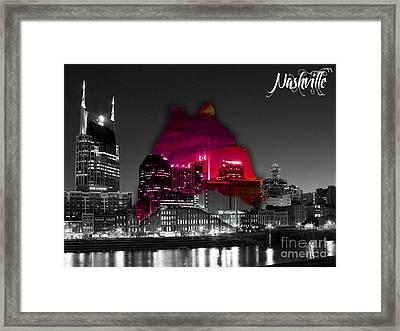 Nashville Skyline And Map Watercolor Framed Print