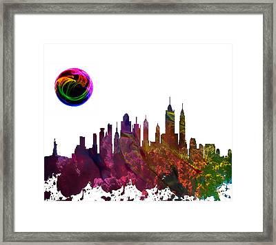New York City Skyline Framed Print by Celestial Images