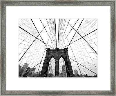 Nyc Brooklyn Bridge Framed Print by Nina Papiorek