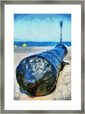Old Cannon In Aegina Port Framed Print
