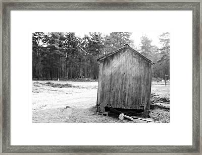 Old Weather Wooden Wagon In A Forest Scene Framed Print by Fizzy Image