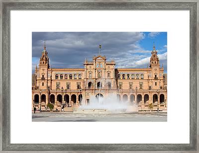Plaza De Espana In Seville Framed Print by Artur Bogacki