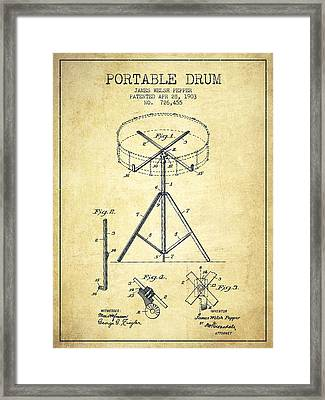 Portable Drum Patent Drawing From 1903 - Vintage Framed Print