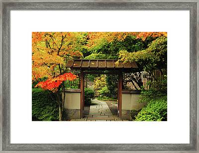 Portland Japanese Garden In Autumn Framed Print
