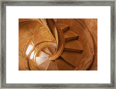 Portugal, Tomar, Spiral Stone Staircase Framed Print