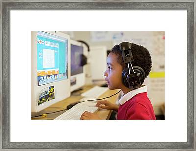 Primary School Computer Lesson Framed Print