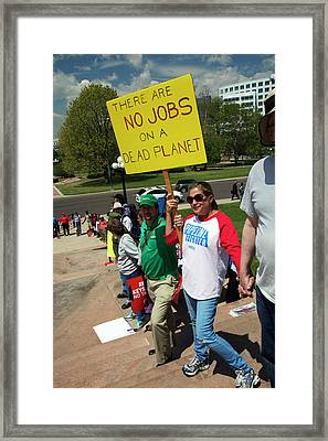 Protest Against Keystone Xl Pipeline Framed Print