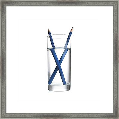 Refraction In A Glass Of Water Framed Print