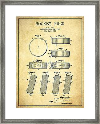 Roll Prevention Hockey Puck Patent Drawing From 1940 Framed Print