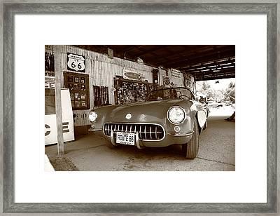 Route 66 Corvette Framed Print by Frank Romeo
