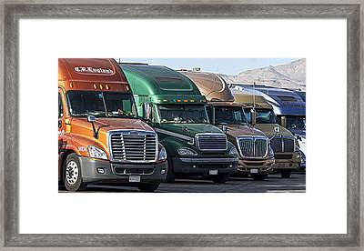 Framed Print featuring the photograph Semi Truck Fleet by Gunter Nezhoda