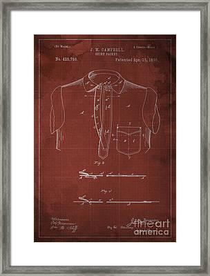 Shirt Pocket Blueprint Patent Framed Print by Pablo Franchi