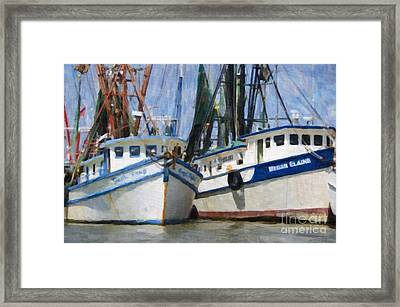 Shrimp Boats On The Creek Framed Print by Dale Powell