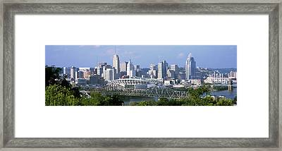 Skyscrapers In A City, Cincinnati Framed Print