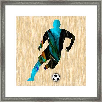 Soccer Player Framed Print by Marvin Blaine