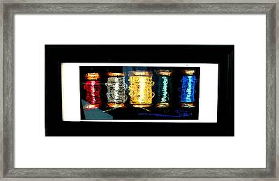 Framed Print featuring the drawing 5 Spools by Joseph Hawkins