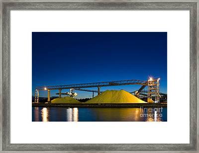 Stockpiled Sulphur, Vancouver, Canada Framed Print by David Nunuk