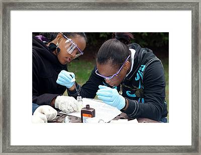 Students Studying River Ecology Framed Print by Jim West