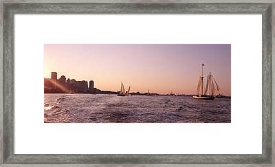 Sun Setting Over Boston Series Framed Print