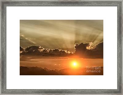 Sunrise And Fog Framed Print