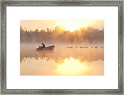 Sunrise In Fog Lake Cassidy With Fisherman In Small Fishing Boat Framed Print