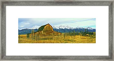 Sunrise Over The Moulton Barn Framed Print by Panoramic Images