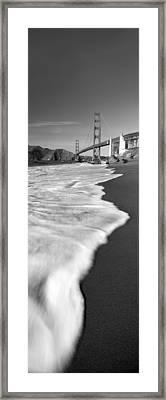 Suspension Bridge Across A Bay, Golden Framed Print