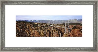 Suspension Bridge Across A Canyon Framed Print