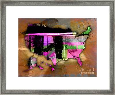 United States Map Watercolor Framed Print