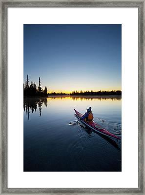 Usa, Oregon A Woman In A Sea Kayak Framed Print