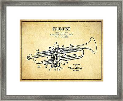 Vinatge Trumpet Patent From 1939 Framed Print by Aged Pixel