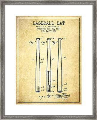 Vintage Baseball Bat Patent From 1924 Framed Print by Aged Pixel