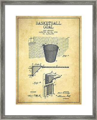 Vintage Basketball Goal Patent From 1925 Framed Print by Aged Pixel