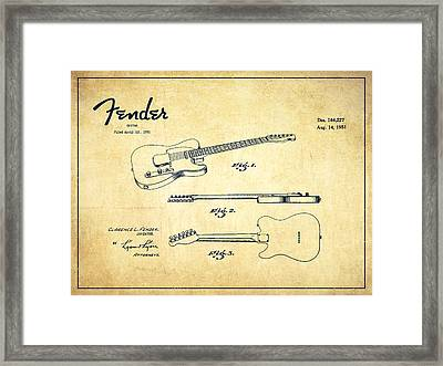 Vintage Fender Guitar Patent Drawing From 1951 Framed Print by Aged Pixel