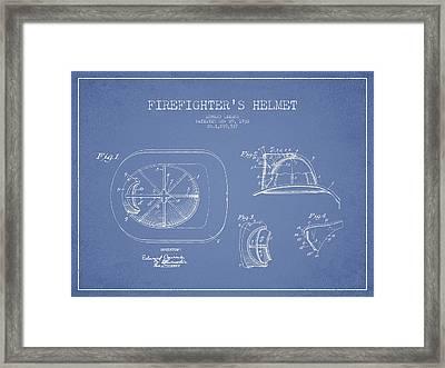 Vintage Firefighter Helmet Patent Drawing From 1932 Framed Print