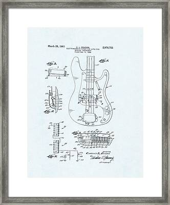 Guitar Patent Drawing On Blue Background Framed Print
