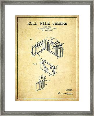 Vintage Roll Film Camera Patent From 1952 Framed Print