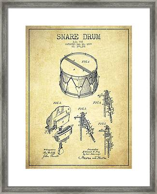 Vintage Snare Drum Patent Drawing From 1889 - Vintage Framed Print